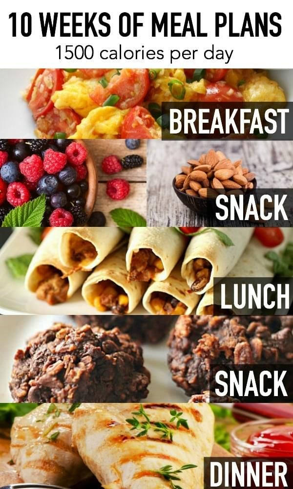 10 Weeks of Meal Plans - each day includes breakfast, lunch