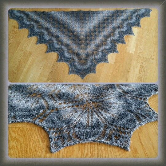Haruni shawl. Recipe from ravelry. Knitted in kauni lace