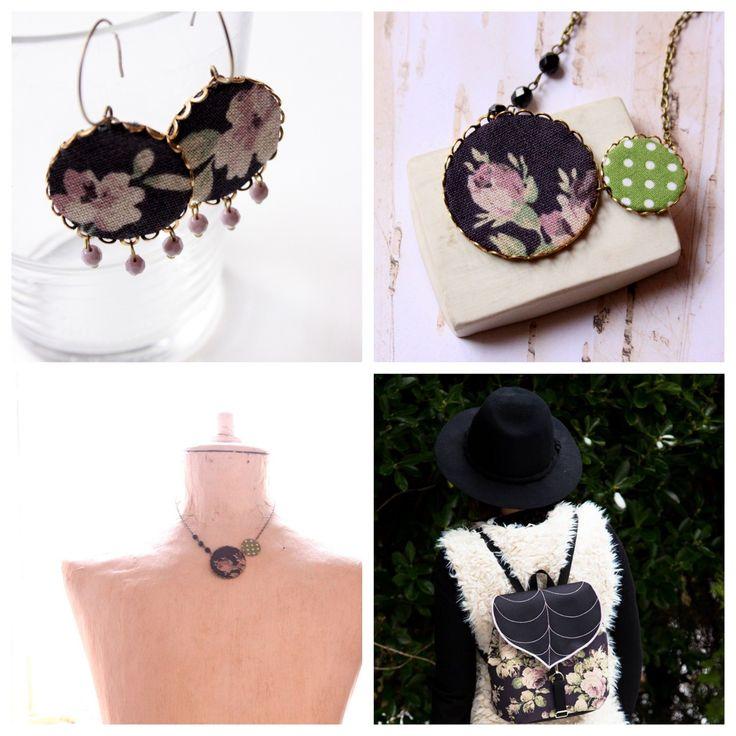 Rózsák - fülbevaló - fekete és rózsaszín színekben, Leafling Bags együttműködés - Vadjutka