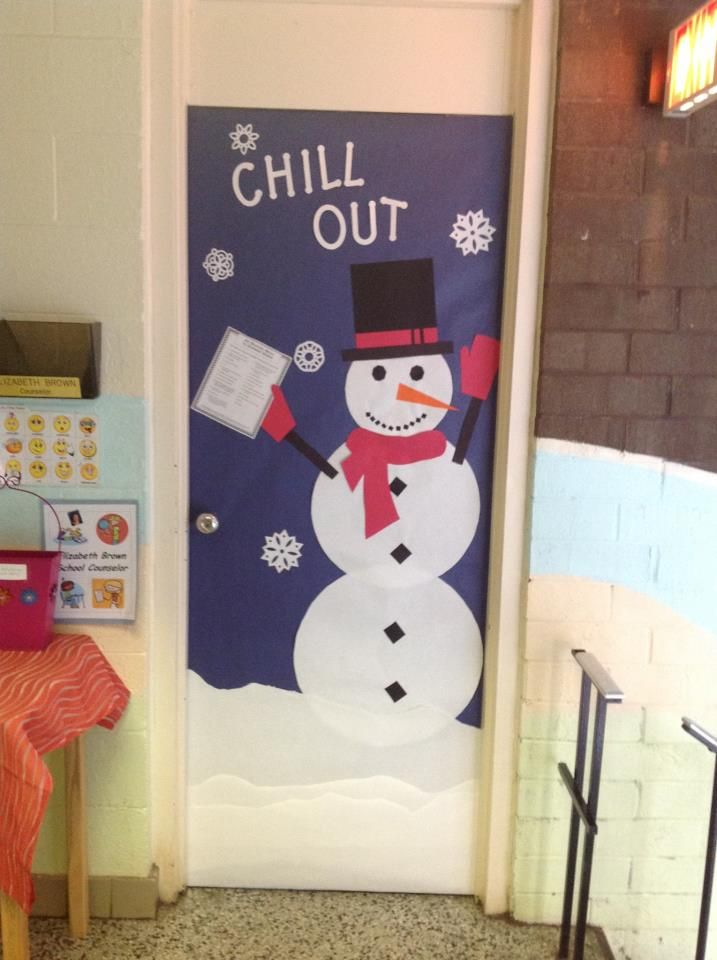 Chill Out! Office door- Snowman holding anger management techniques  - The Inspired Counselor blog