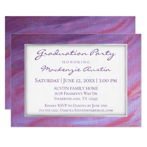 Adaptable Graduation | Pink Purple Zebra Party Card Calligraphy Script #GraduationParty #Classof2018 #bound