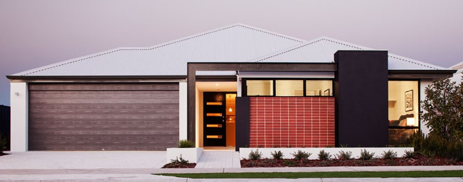 'The Ambition' - Modern home elevation with brick and render feature and colorbond roof.