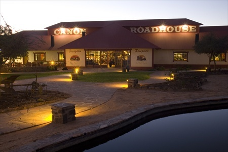 The main building of the Canyon Roadhouse.