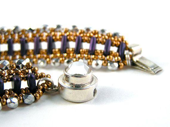 Wild Side Bracelet  Beadweaving  Fire Polish Glass by knitbeadlove