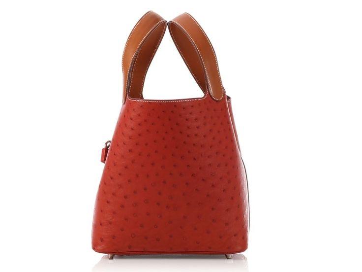 HERMES 2014 Brique Ostrich Picotin Lock 22 Bag Purse EUC ~ Barenia leather trim!  | eBay