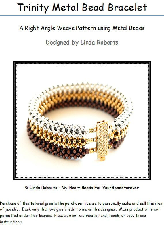 Beading Tutorial - Trinity Metal Bead Bracelet Pattern - Right Angle Weave