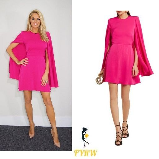 Tess Daly Strictly dress hot pink cape dress Strictly come Dancing November 2017