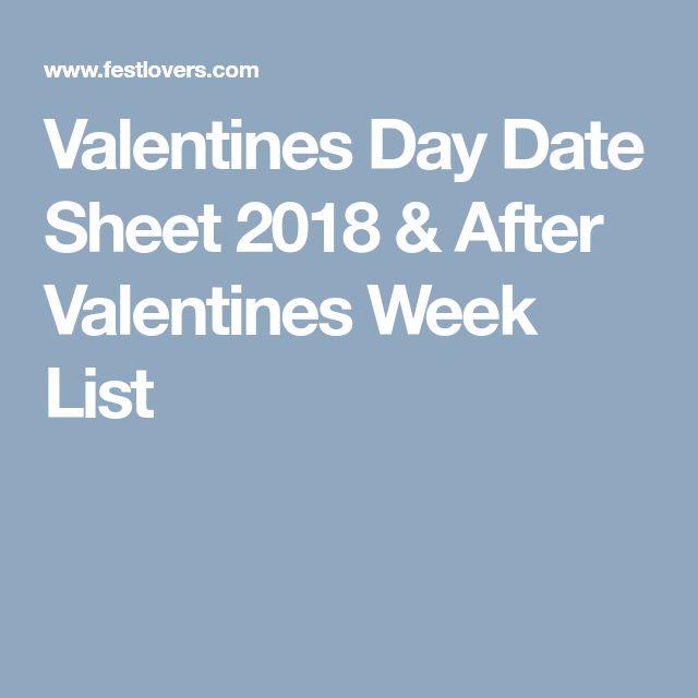 Valentines Day Date Sheet 2018 & After Valentines Week List