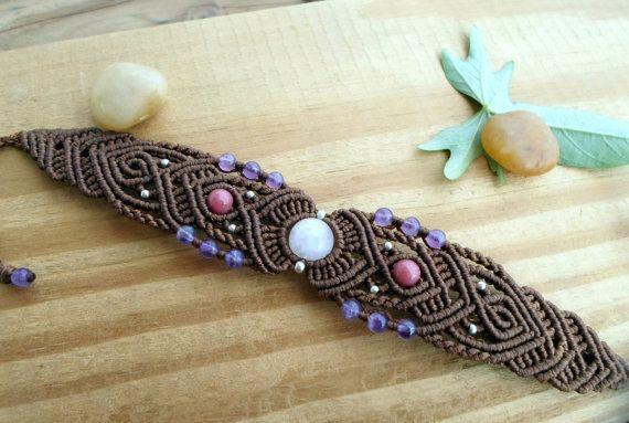 Rose Quartz macrame bracelet macrame jewelry boho by SelinofosArt