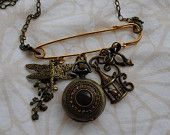 """Charm Bandits Designers: Janet DuBois and Jaclyn Dubois Mixed Metal Kilt Pin """"Junk"""" Charm Necklace with Pocket Watch"""