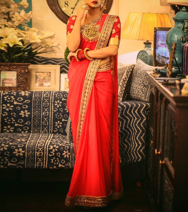 Red Embroidered Tabi Silk Saree from Megha and Jigar