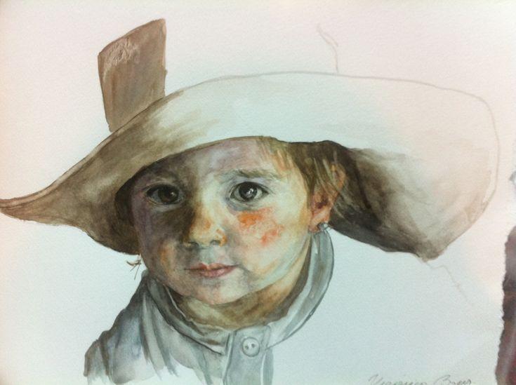 El sombrero  27 x 37 Acuarela Retrato