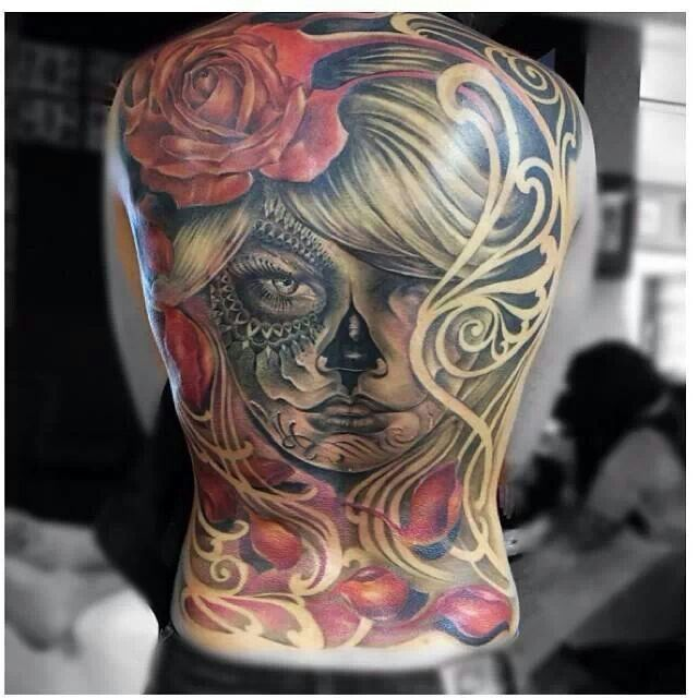 Skull Back Piece: Day Of The Dead Full Back Piece Tattoo