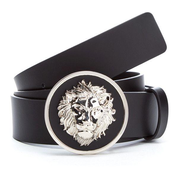 Versus Versace Men's Round Logo Belt - Black ($185) ❤ liked on Polyvore featuring men's fashion, men's accessories, men's belts, black and mens belts