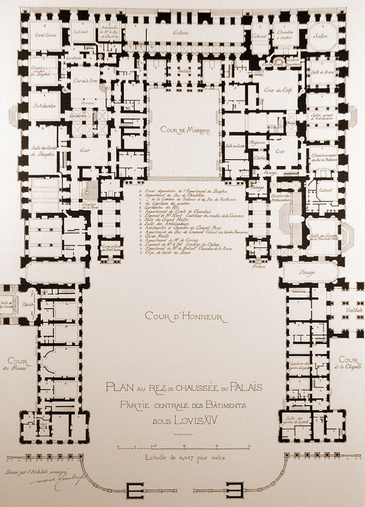 A map of the centre piece of the palace of versailles for Palace plan