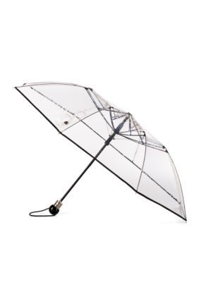 Totes Men's Clear Compact Umbrella - Clear/Black - One Size