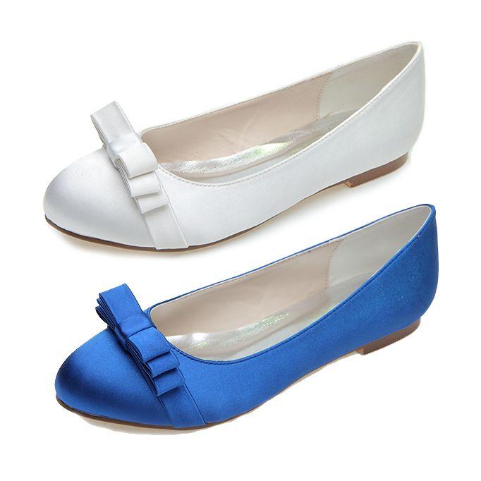 Сладкий закругленным носком женщина атласное платье квартиры туфли синий белое свадебное ну вечеринку выпускного вечера обувь с бантом для пляжа свадьбы