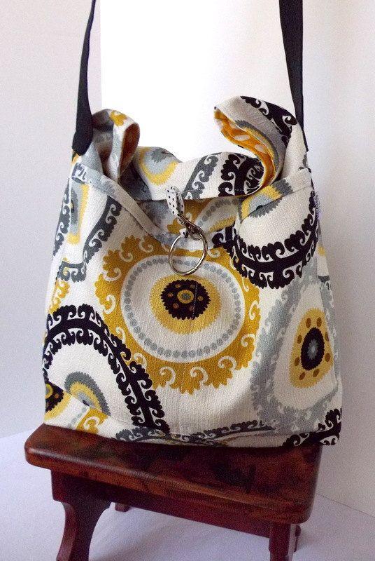 Slouchy Tote - Hobo - Umhängetasche - Portemonnaie - Fach über Tasche - Stoff Tasche - Senf, gelb, schwarz, graue Kreise