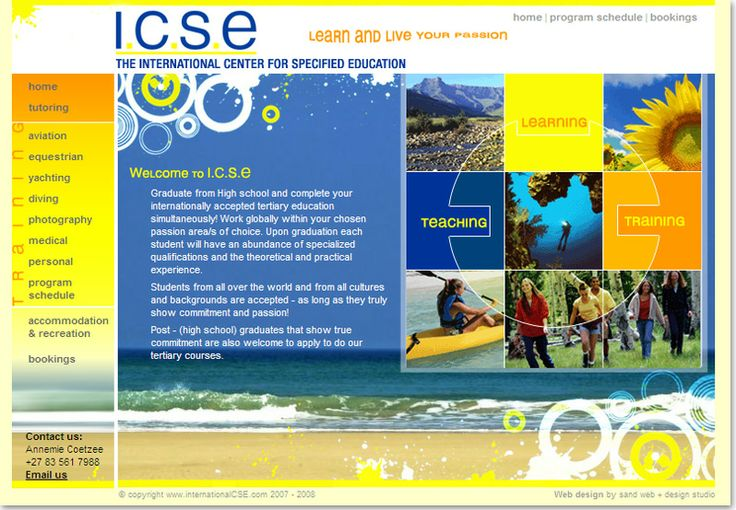 Educational website design for The International Center for Specified Education ICSE