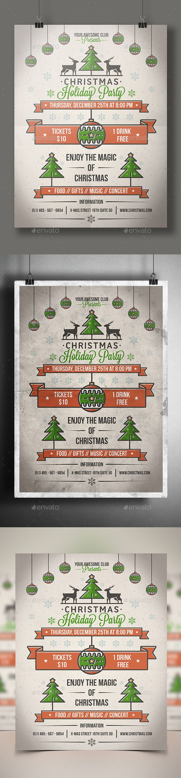 Xmas poster design - Christmas Party Poster Flyer