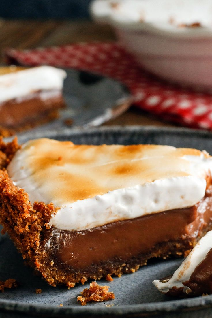 Smores pie.  Crust and chocolate filling look good, would probably just broil store-bought marshmallows for top layer.