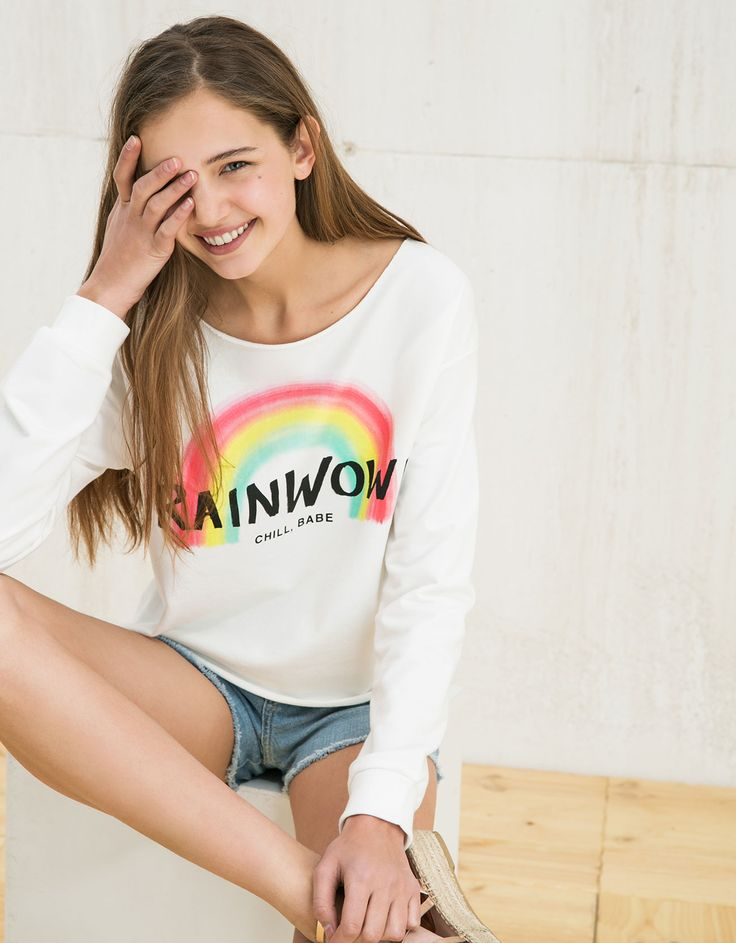 BSK rainbow/unicorn print sweatshirt - BSK teen - Bershka Turkey