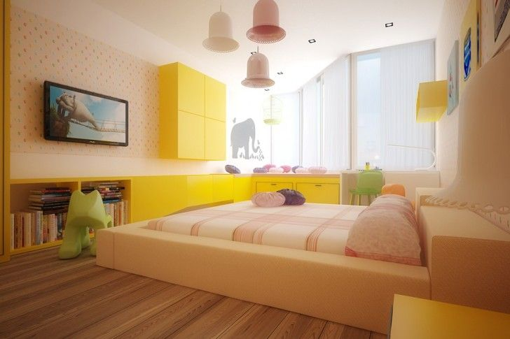 Kid Room, Cream Sleeping Bed White Table Lamp Desk Elephant Wall Art Patterned Wall Yellow Cabinet With Bookshelf Pillow Green Chair White Curtain And Mounted Wall Flat Screen Tv ~ Playful Kid Room Color Schemes Enlivening a Childish Interior Comfort