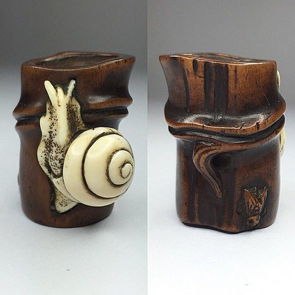 Boxwood ivory netsuke of a snail on bamboo japan