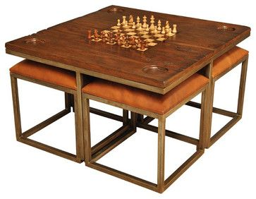 Coffee Table Concept - Low Game Table with Four Stools - traditional - Coffee Tables - Sarreid Ltd