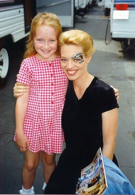 Star Trek Voyager - Scarlet Pomers (Naomi Wildman) and Jeri Ryan (Seven of Nine), on the back lot by the cast trailers at Paramount Studios.