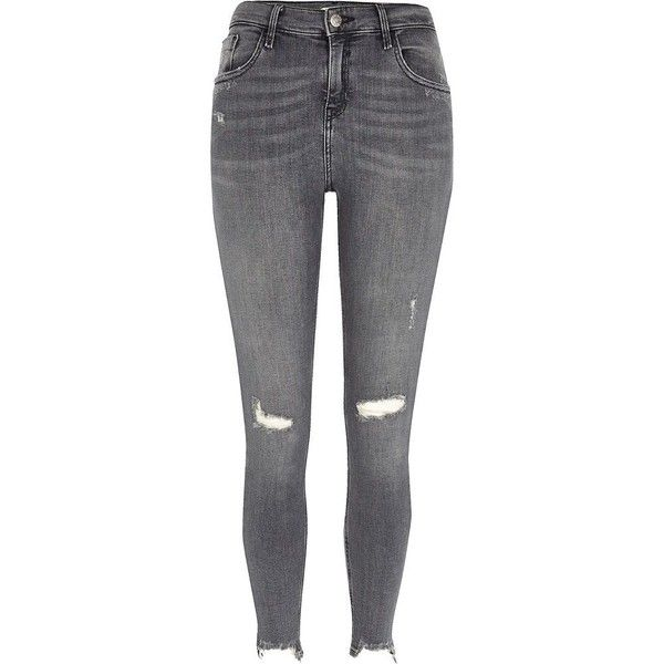 River Island Grey ripped Amelie super skinny jeans ($84) ❤ liked on Polyvore featuring jeans, pants, bottoms, grey, pantalon, skinny jeans, women, super distressed skinny jeans, gray skinny jeans and mid rise skinny jeans