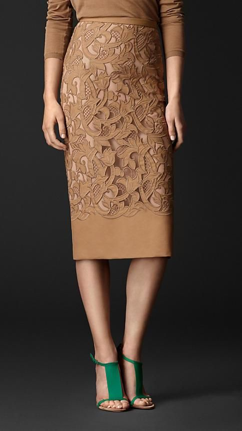 Burberry Prorsum S/S14 Laser-Cut Lace Pencil Skirt the combo of the skirt and turquoise shoe is beaut
