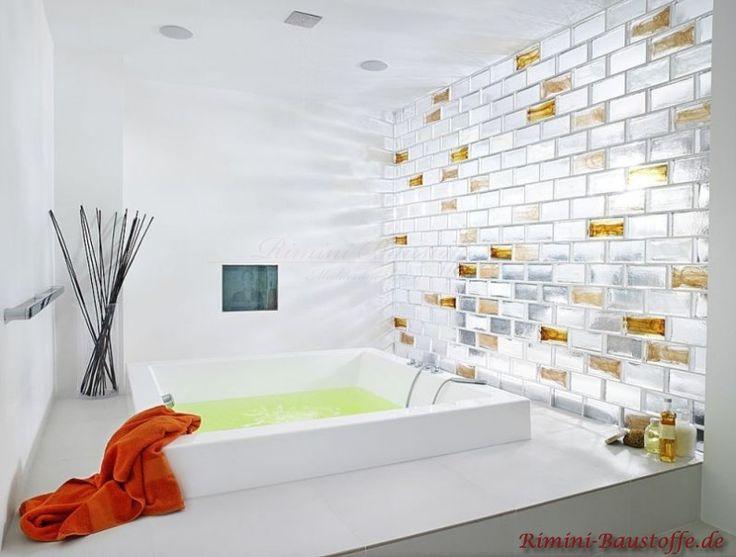 Glasbausteine Aus Vollglas In Ziegeloptik Für Wände Und Rückwände, Zum  Bespiel Als Raumteiler Im Wohnzimmer Oder Als Duschabtrennung