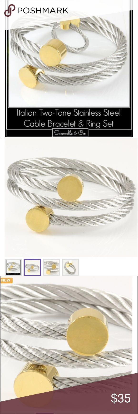 Italian Two-Tone Stainless Steel Cable Set Material: Stainless steel Color: Multi Condition: New  Italian Two-Tone Stainless Steel Cable Bracelet & Ring.  Total weight for the Set is 51.2 Grams.  The Bracelet is Adjustable for All sizes.  Ring Size: Adjustable for All ring sizes.  This Bracelet is Sure to Turn Heads and get you Tons of Compliments. Photos just don't do in Justice. Samuelle & Co Jewelry Bracelets