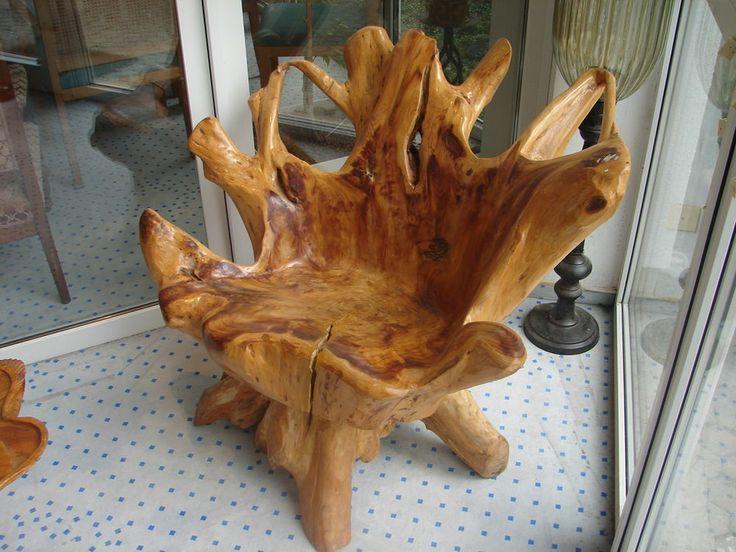 Wurzelholzstuhl wurzelholz stuhl einzelst ck unikat for Teichanlage selber bauen