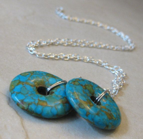 Blue turquoise lariat handmade necklace - handcrafted jewelry by Bethany Rose Designs at www.BethanyRoseDesigns.etsy.com