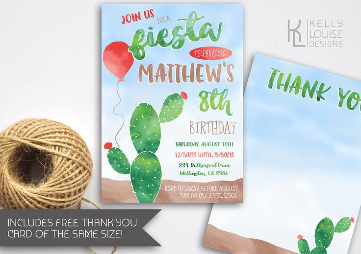 Fiesta Birthday Party | Fiesta Invitation | Watercolour Invitation | Cactus Invitation | Summer Party Invitation | Mexican Party (105) by kellylouisedesigns on Etsy