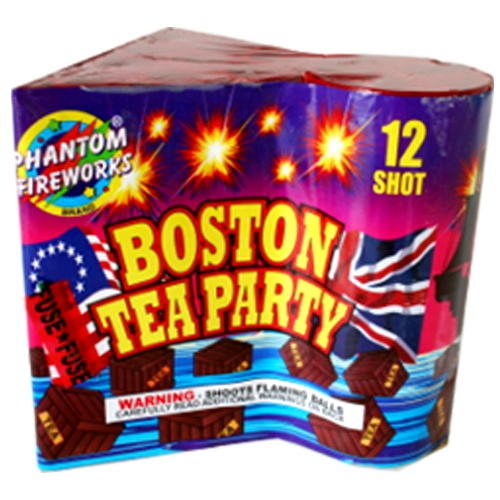 Phantom Fireworks® Boston Tea Party: 12 shots of beautiful red and green pearls burst into peony breaks with alternating blue and yellow crackling willows.