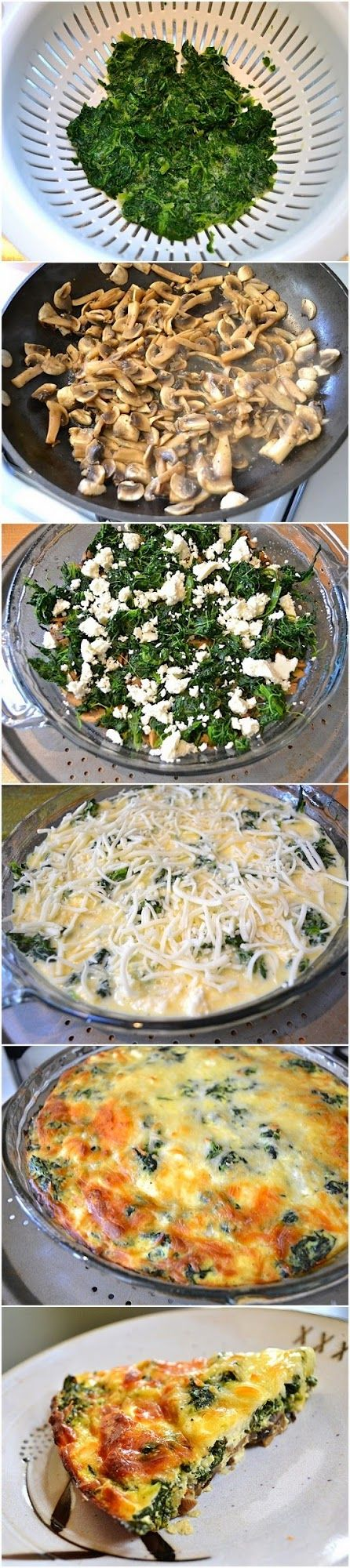 doing this, using fresh spinach, green onion, gargonzola, mushrooms, broccli and some peppers. Cutting into smaller squares. Spinach, Mushroom Feta Crustless Quiche. I added ham and used 6 eggs. It was delicious!