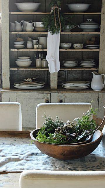 Gorgeous display of ironstone; farmhouse style