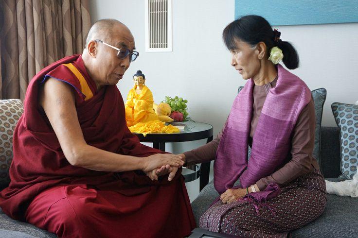 His Holiness the Dalai Lama with Aung San Suu Kyi