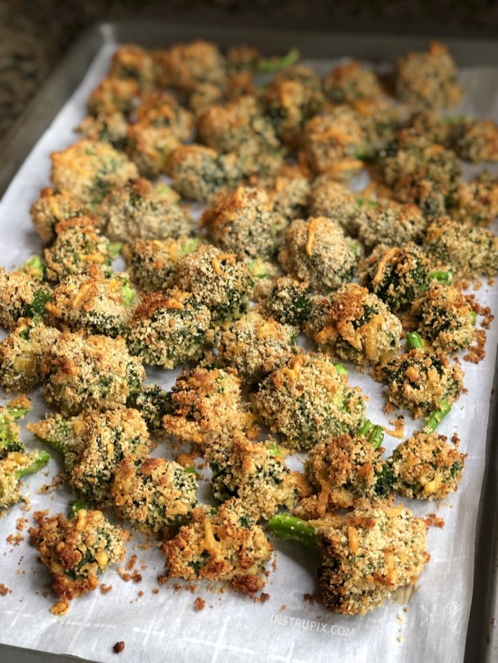 The BEST Crispy Cheese Baked Broccoli