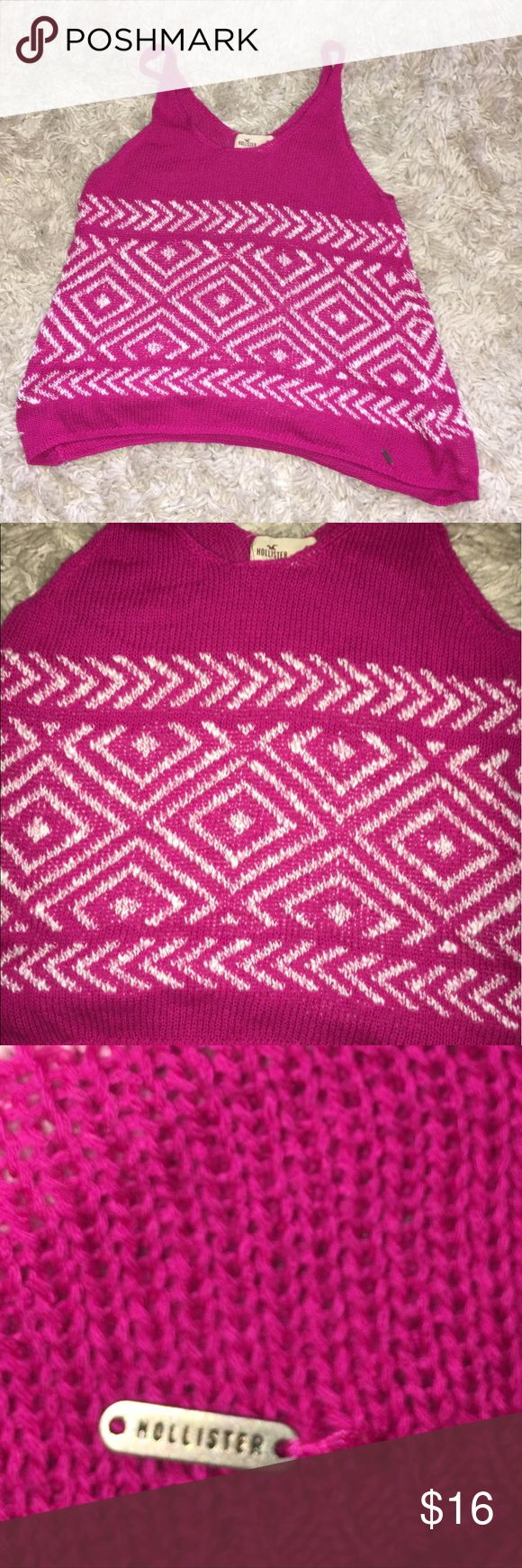 Hollister S Pink Tribal Sweater Tank In good condition! The tribal print is on the front and back of the tank. Hollister Tops Tank Tops
