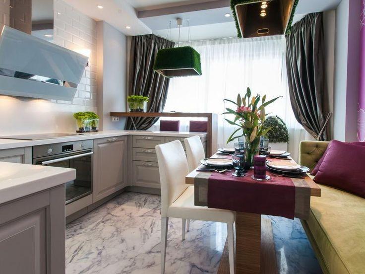 Объединение балкона с кухней: этапы перепланировки и 70 наиболее комфортных реализаций http://happymodern.ru/obedinenie-balkona-s-kuxnej/ Яркая современная кухня объединенная с балконом
