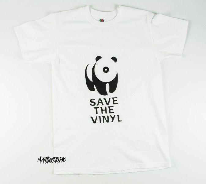 Biała koszulka - Save the vinyl - Martwestudio - Koszulki z aplikacją