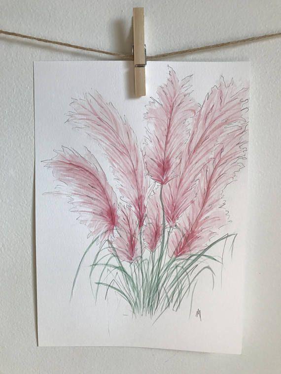 Illustration aquarelle  Herbe de la Pampa  Fleurs Fait à la