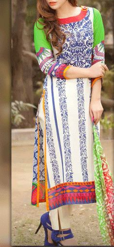 Buy White/Purple Printed Swiss Voile Dress by Charizma Lawn Spring 2015 Collection.