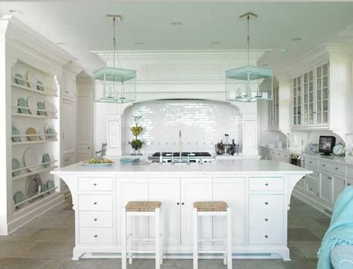 Gorgeous white kitchen with blue accents