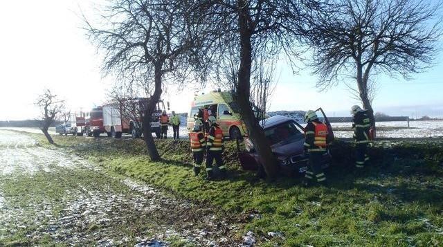 U Kožlan narazilo auto do stromu