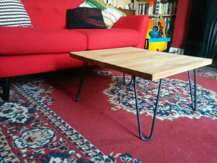 Built a coffee table for the drawing room. It's made from perfectly-sized leftover IKEA Hammarp oak worktop (from our new kitchen), and steel hairpin legs from Invicta Ironworks. I love it.